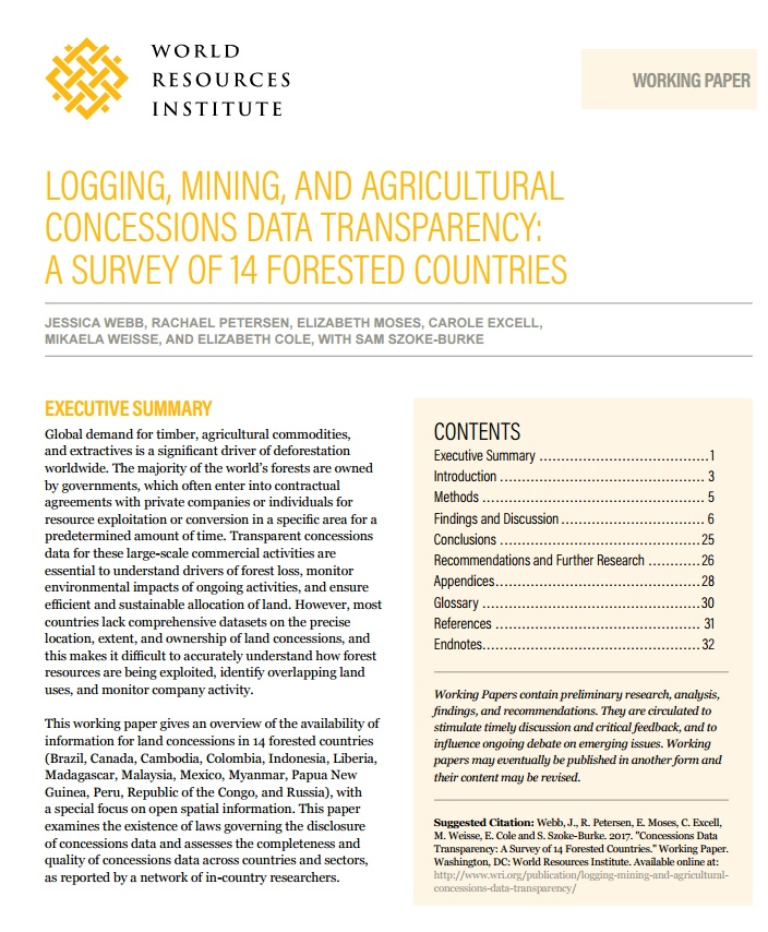 logging mining agricultural concessión data transparency survey