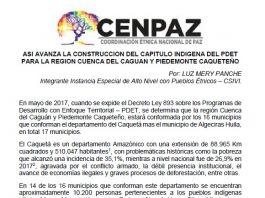 cenpaz construccion capitulo PDET indigena region piedemonte Caqueteño