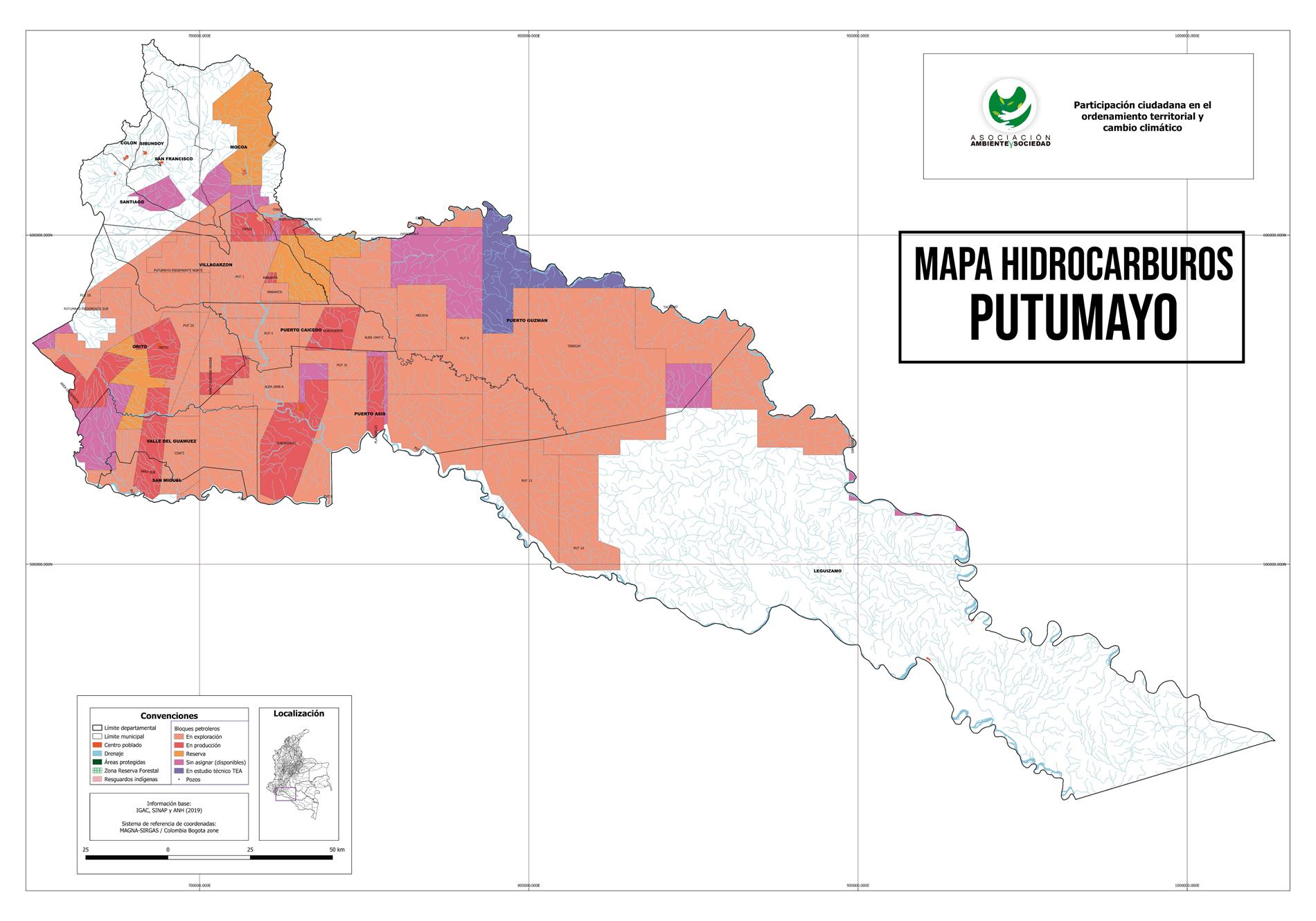 Mapa Hidrocarburos en el Putumayo